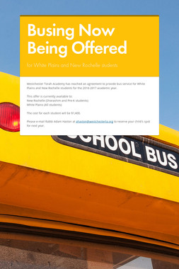 Busing Now Being Offered
