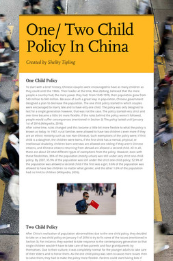 One/ Two Child Policy In China