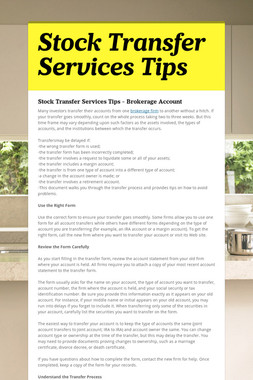 Stock Transfer Services Tips