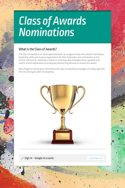 Class of Awards Nominations