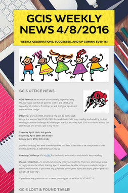 GCIS Weekly News 4/8/2016