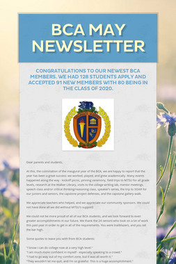 BCA May Newsletter