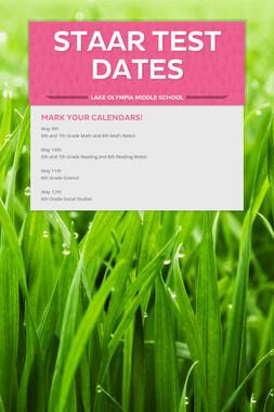 STAAR Test Dates