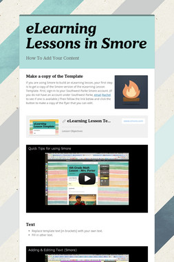 eLearning Lessons in Smore