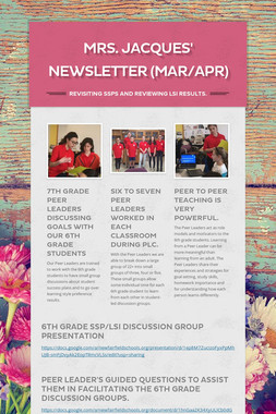 Mrs. Jacques' Newsletter (Mar/Apr)