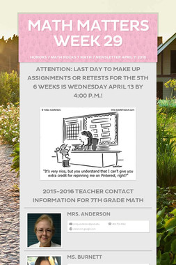 Math Matters Week 29
