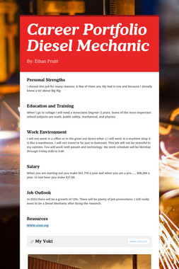 Career Portfolio Diesel Mechanic