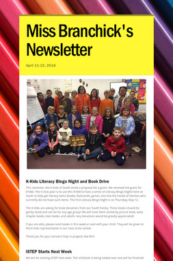 Miss Branchick's Newsletter