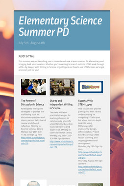 Elementary Science Summer PD