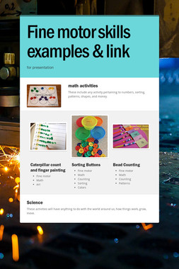 Fine motor skills examples & link