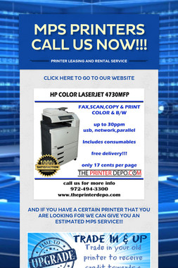 MPS PRINTERS CALL US NOW!!!