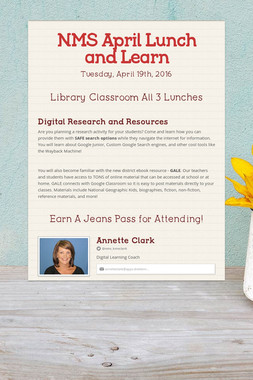 NMS April Lunch and Learn