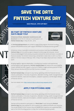 SAVE THE DATE Fintech Venture Day