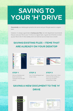 Saving to Your 'H' Drive