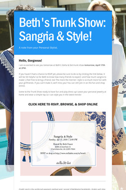 Beth's Trunk Show: Sangria & Style!