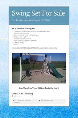 Swing Set For Sale