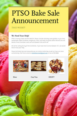 PTSO Bake Sale Announcement