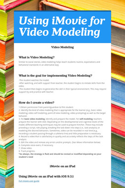 Using iMovie for Video Modeling