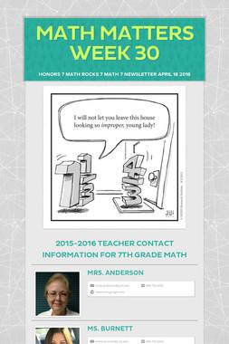 Math Matters Week 30