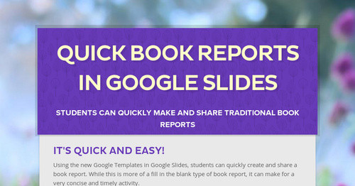 Quick Book Reports In Google Slides Smore Newsletters