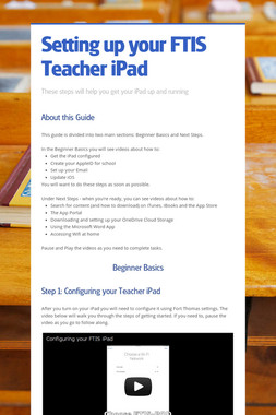 Setting up your FTIS Teacher iPad