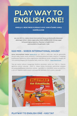 Play Way to English One!