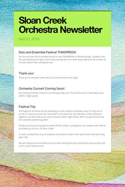 Sloan Creek Orchestra Newsletter