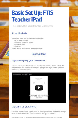 Basic Set Up: FTIS Teacher iPad