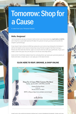Tomorrow: Shop for a Cause