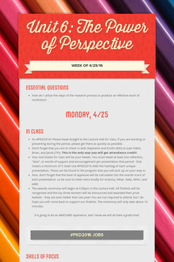 Unit 6: The Power of Perspective
