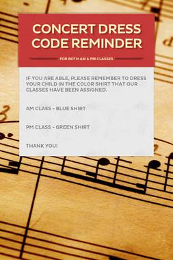 Concert Dress Code Reminder