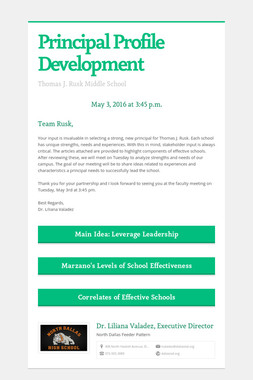 Principal Profile Development