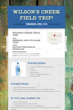 Wilson's Creek Field Trip!