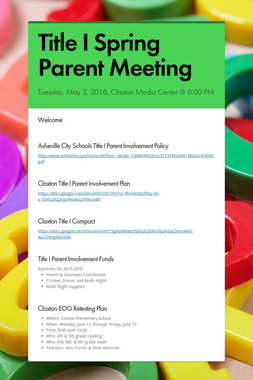 Title I Spring Parent Meeting