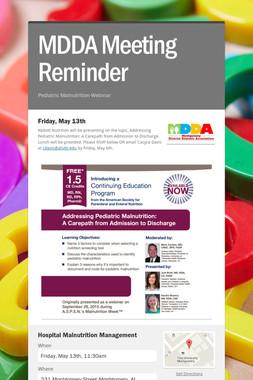 MDDA Meeting Reminder