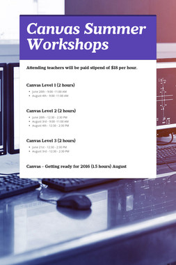 Canvas Summer Workshops