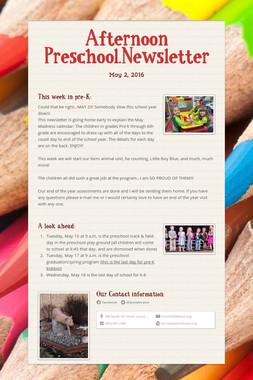 Afternoon Preschool.Newsletter