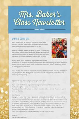 Mrs. Baker's Class Newsletter