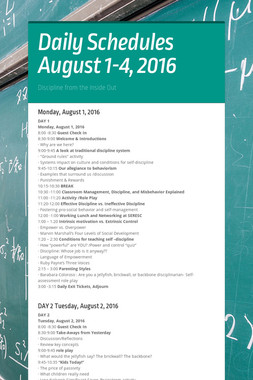 Daily Schedules  August 1-4, 2016