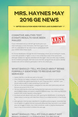 Mrs. Haynes May 2016 GE News
