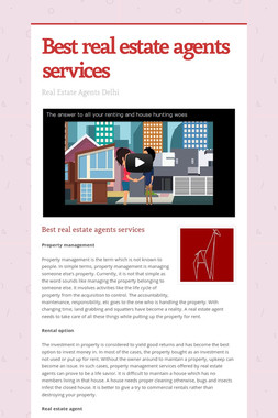 Best real estate agents services