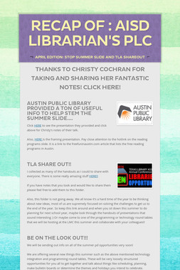 Recap of : AISD LIBRARIAN'S PLC