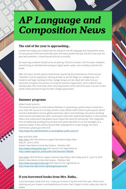 AP Language and Composition News