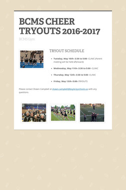 BCMS CHEER TRYOUTS 2016-2017