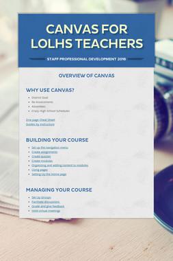 Canvas For LOLHS Teachers