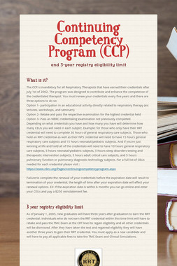 Continuing Competency Program (CCP)