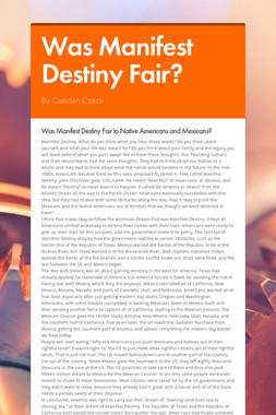 Was Manifest Destiny Fair?