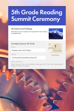5th Grade Reading Summit  Ceremony