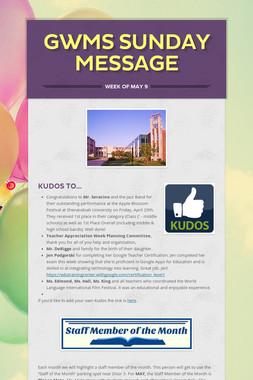 GWMS Sunday Message