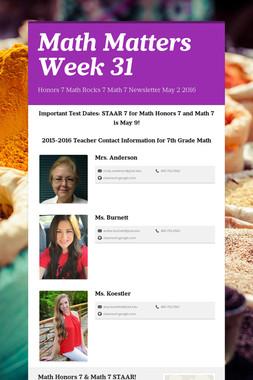 Math Matters Week 31